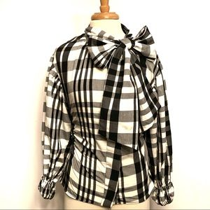 Zara Puff Sleeve, Side Ruched w/ Neck Bow Tie